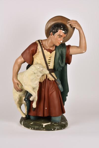 Kerststalfiguur 'Herder met schaap'