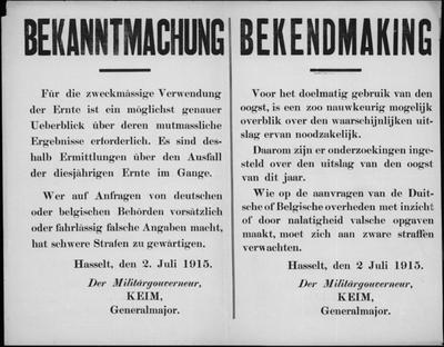 Hasselt, affiche van 2 juli 1915 - opbrengst oogst.
