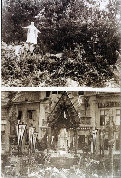 Foto: straatversiering: Onze-Lieve-Vrouw en de Dolende Man, Luikerpoort en Altaar met Onze-Lieve-Vrouw Onbevlekt ontvangen, Grote Markt (Virga Jessefeesten, Hasselt, 1926)
