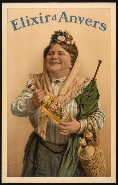 Interieuraffiche 'Elixir d'Anvers' voor stokerij De Beukelaer, Antwerpen, 1910