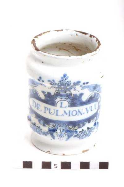 Delfts blauwe apothekerspot; L. De Pulmon. Vul :