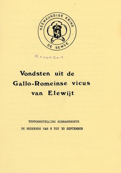 Vondsten uit de Gallo-Romeinse vicus van Elewijt