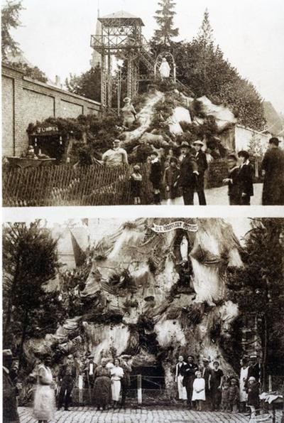 Foto: straatversiering: De koolmijners onder bescherming van Onze-Lieve-Vrouw, Sint-Jozefsstraat en Onze-Lieve-Vrouw Onbevlekt ontvangen, Persoonstraat (Virga Jessefeesten, Hasselt, 1926)
