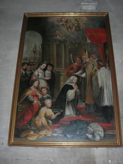 schilderij H. Amandus legt de sluier op de H. Gertrudis, abdis van Nijvel