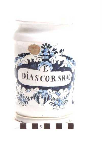 Delfts blauwe apothekerspot; E DIASCOR SRACA en BORAS SODÆ