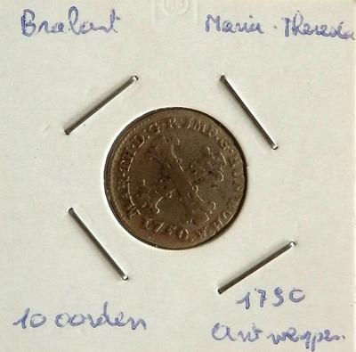 10 Oorden, geslagen te Antwepen, 1750, Maria-Thersia (Oostenrijkse Nederlanden), zilver