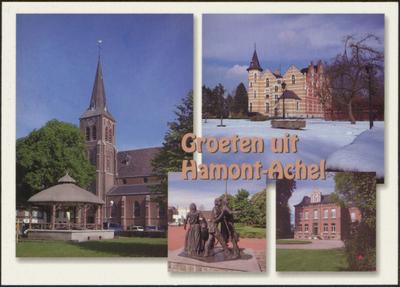 Groeten uit Hamont-Achel 1. Sint-Monulfus-en Gondulfuskerk Achel met kiosk en fontein 2. Kasteel Grevenbroek Achel 3. Grevenbroeker standbeeld Achel 4. Simonshuis Achel