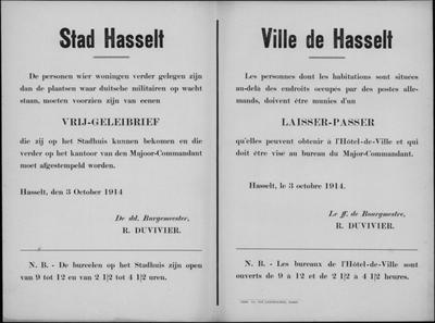 Stad Hasselt, affiche van 3 oktober 1914 - vrijgeleidebrief indien woning buiten bewaakte gebied.