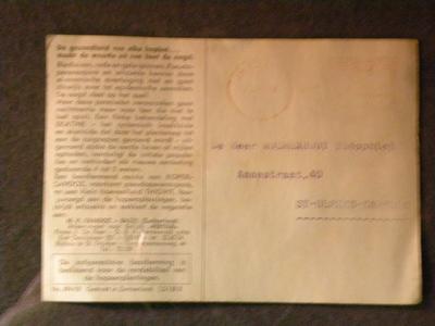 Postkaart met reclame voor spuitzwavel bij hopteelt