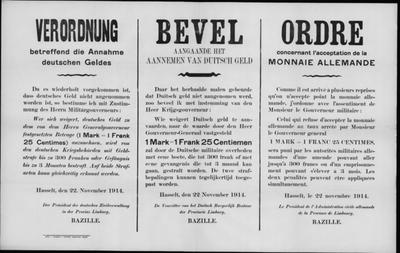 Hasselt, Provincie Limburg, affiche van 22 november 1914 - koers Duitse mark.