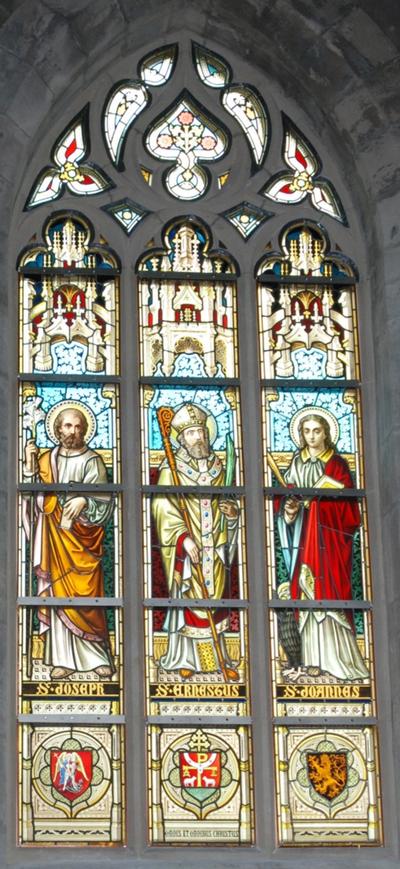 glas-in-loodraam S. Joseph, S. Ernestus, S. Joannes