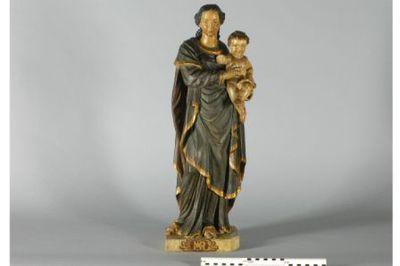 Beeld van madonna met kind in gepolychromeerd eikenhout.
