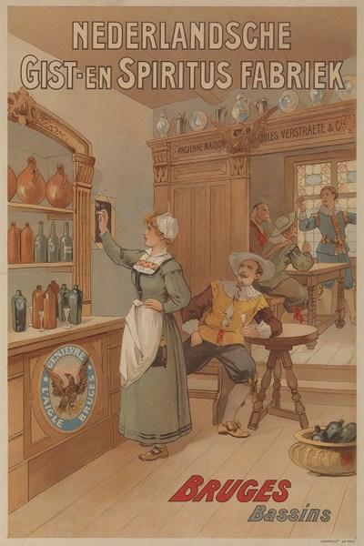 Exterieuraffiche 'Nederlandsche Gist-en Spiritus Fabriek, Bruges, Bassin' voor Nederlandsche Gist- en Spiritusfabriek, Brugge, ca. 1895-1900