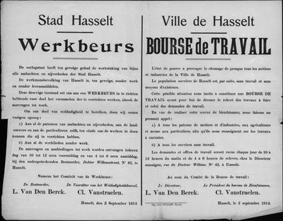 Stad Hasselt, affiche van 2 september 1914 - bekendmaken werkbeurs.
