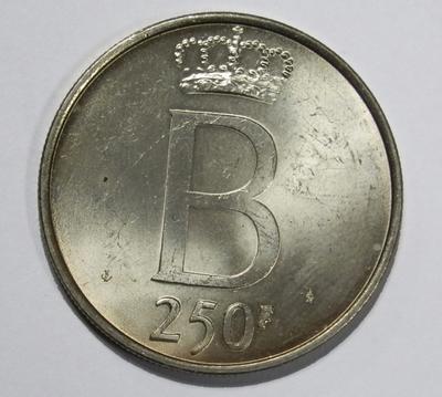 250 Frank, geslagen te Brussel, 1976, VL, Boudewijn I, zilver