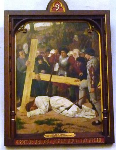 Statie 9: Derde val van Jezus onder het kruis.