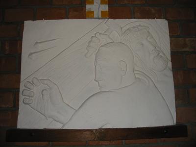 Statie 11 - Jezus wordt aan het kruis genageld.