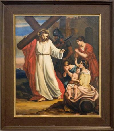 Schilderij kruisweg achtste statie