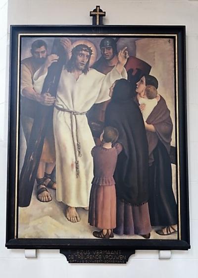Kruiswegstatie VIII: JEZUS VERMAANT DE TREURENDE VROUWEN