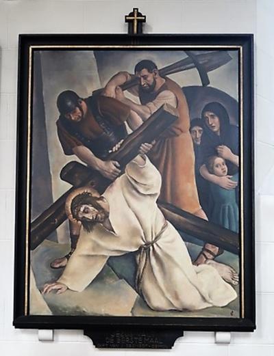 Kruiswegstatie III: Jezus valt onder het kruis