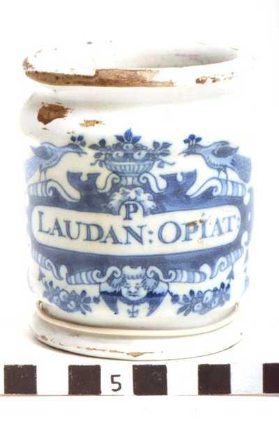 Delfts blauwe apothekerspot; P LAUDAN : OPIAT :
