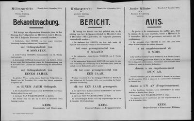 Hasselt, affiche van 8 december 1914 - veroordelingen deserteren en vluchten.
