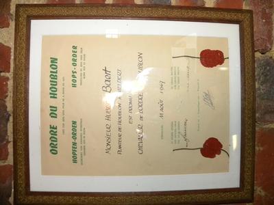 Akte van Hoplidmaatschap bij de Ordre du Houblon