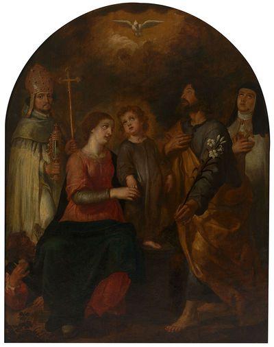 De heilige familie met de heiligen Norbertus en Theresia van Avila