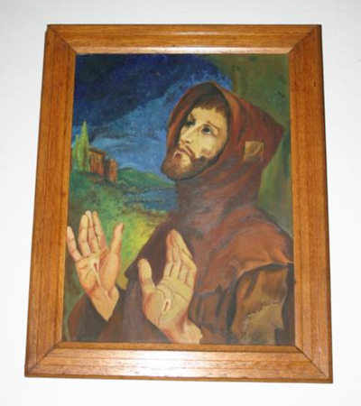 De Heilige Franciscus van Assisi toont de stigmata