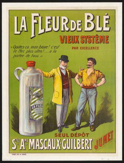 Interieuraffiche 'La Fleur de Blé' voor stokerij Mascaux-Guilbert, Jumet, ca. 1905-1914