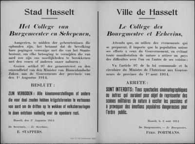 Stad Hasselt, affiche van 3 augustus 1914 - cinemavoorstellingen.
