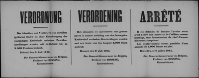 Brussel, affiche van 6 juli 1915 - verbod om haver af te maaien of aan vee te voederen.