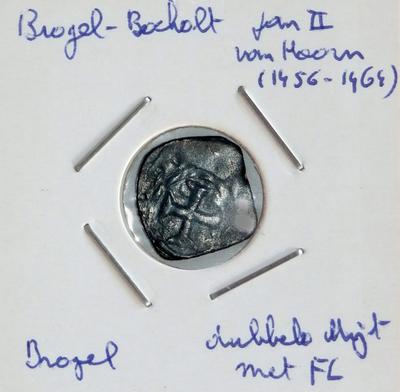 Dubbele Mijt met FL, geslagen teBrogel, 1456-1464, Jan II van Hoorn, koper
