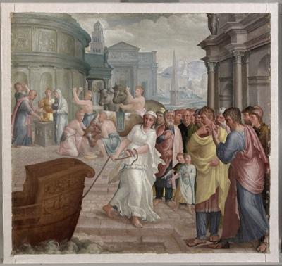 De vestaalse maagd Claudia Quinta sleept de boot van de moedergodin Cybele aan land (Augustinus, De Civitate Dei, X, 16)