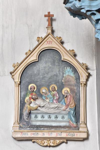 Jesus wordt in het graf gelegd