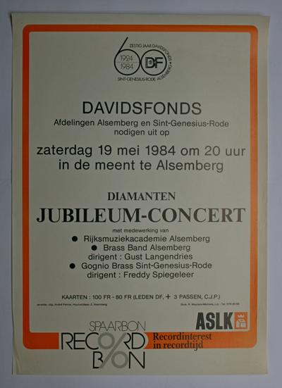 Affiche diamanten jubileumconcert Davidsfonds Alsemberg en Sint-Genesius-Rode in 1984