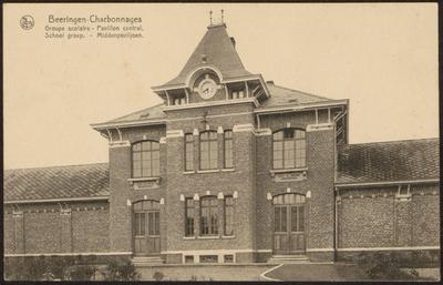 Beeringen-Charbonnages Groupe scolaire - Pavillon central. School groep. - Middenpaviljoen.