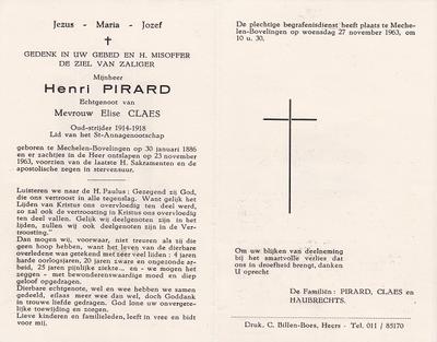 Doodsprent van Pirard Henri