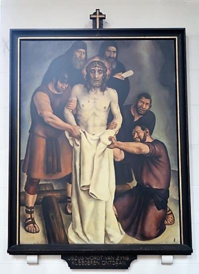 Kruiswegstatie X: Jezus wordt van zijn kleren beroofd