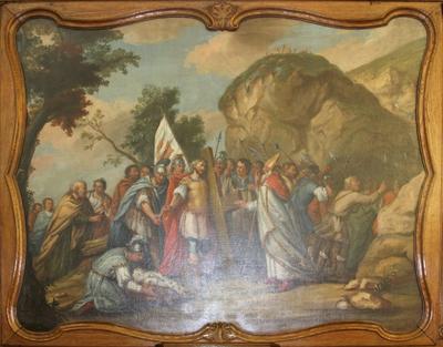 Heraclius brengt als boeteling het Heilig Kruis naar Jeruzalem