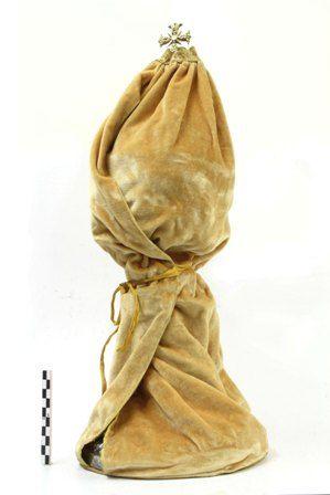 beschermhoes in gele vloeren stof met goudkleurige rand voor 1 ciborie