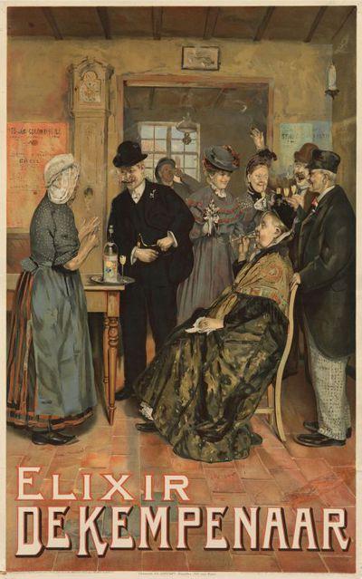 Interieuraffiche 'Elixir De Kempenaar' voor stokerij Jacques Neefs, Antwerpen, 1907