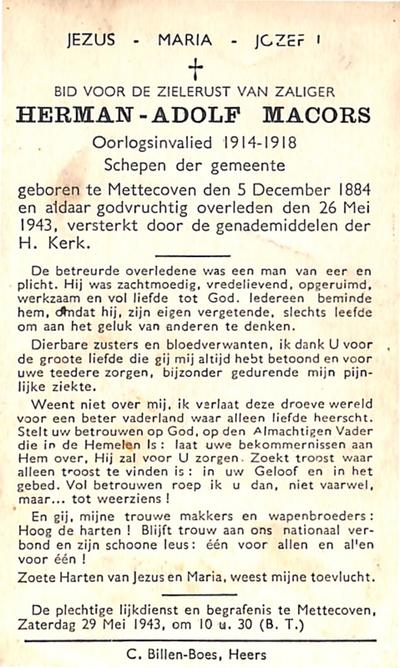 Doodsprent van Macors Herman.