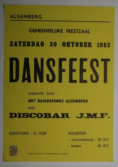 Affiche voor het dansfeest van het Davidsfonds Alsemberg in 1982