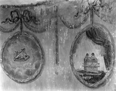 Muurschilderingen voorstellend : Ark van het Verbond en Lam van de Apocalyps uit het N.T.