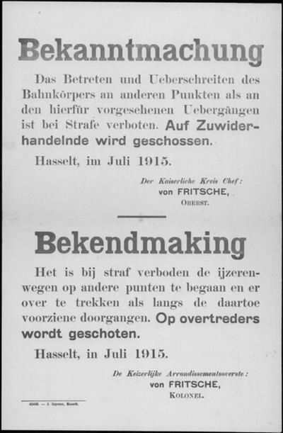 Hasselt, affiche van juli 1915 - betreden en oversteken spoorweg.