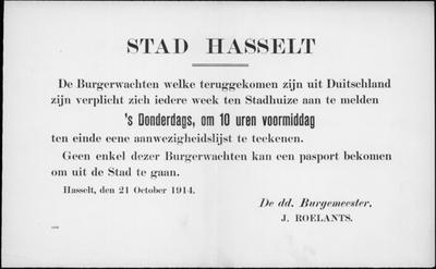 Stad Hasselt, affiche van 21 oktober 1914 - melding burgerwacht op stadhuis.