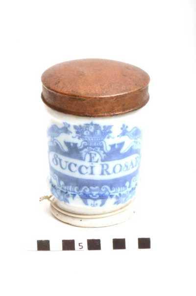 Delfts blauwe apothekerspot; E SUCCI ROSAR - CROCUS SATIV: