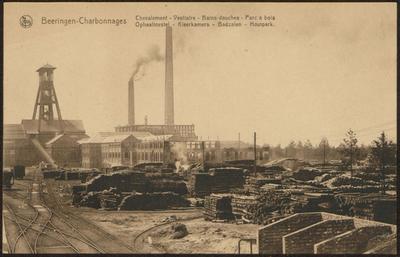 Beeringen - Charbonnages Chevalement - Vestiaire - Bains-douches - Parc à bois. Ophaaltoestel - Kleerkamers - Badzalen - Houtpark.