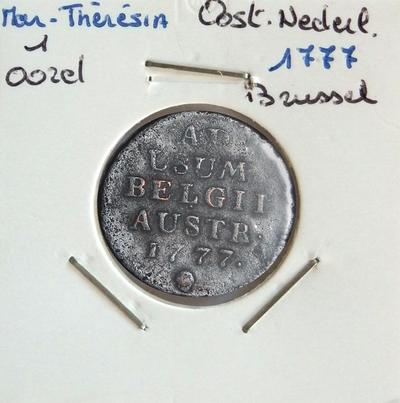 1 Oord, geslagen te Brussel, 1777, Maria-Theresia, koper